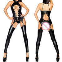 Women Sexy Jumpsuits Halter PU Leather Hollow Out Latex Catsuit Wetlook Bodysuits Erotic Lingerie Oepn Crotch Clubwear Overalls