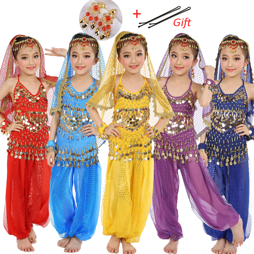 8 Colors Kids Belly Dance Costumes Set Oriental Dance Costumes For Girls Egypt Egyptian Bollywood Indian Belly Dancing Clothing