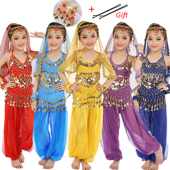 8 Colors Kids Belly Dance Costumes Set Oriental For Girls Egypt Egyptian Bollywood Indian Dancing Clothing