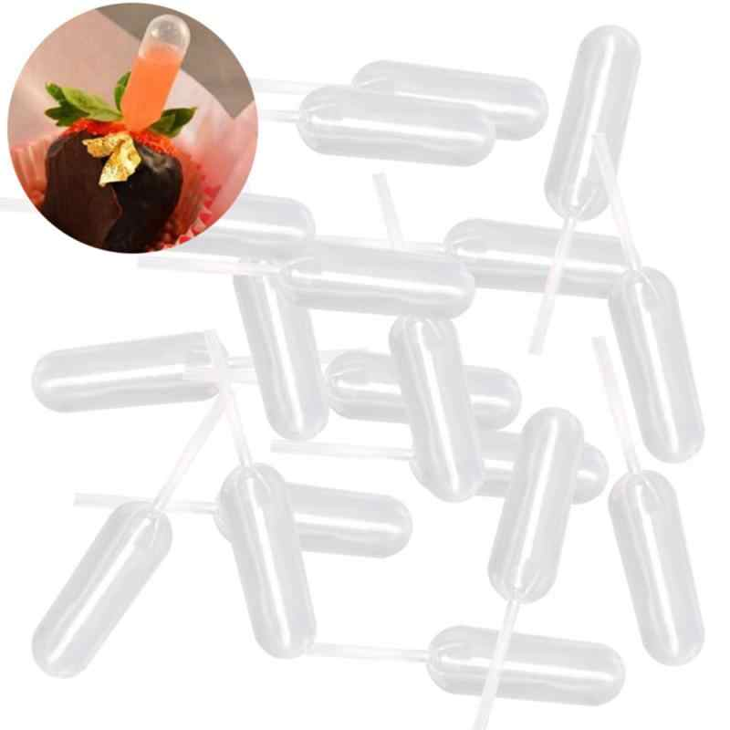 50 Pcs Plastik Squeeze 4 Ml Pipet Transfer Pipet Sekali Pakai untuk Strawberry Cupcake Es Krim Cokelat
