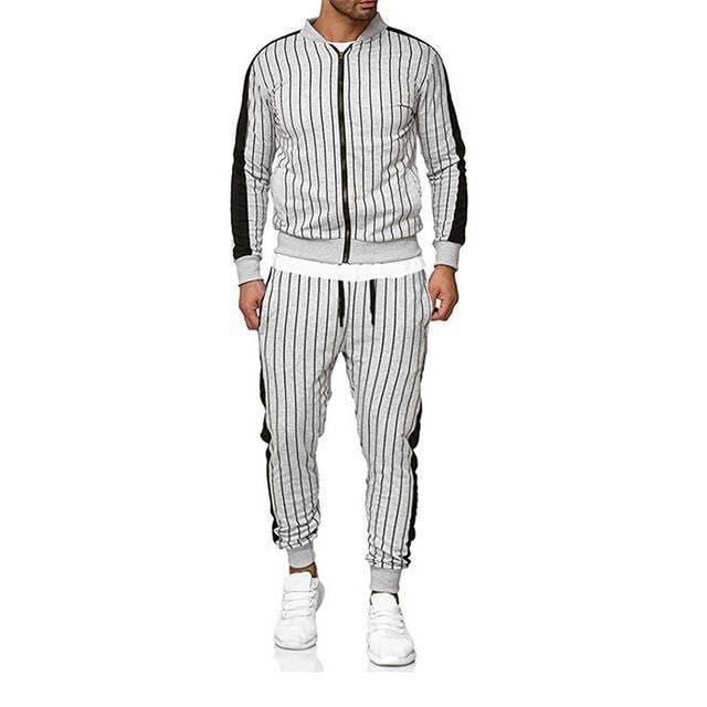 AliExpress MEN'S Sport Suit Plaid Stripes Decoration Fitness Casual Wear MEN'S Suit