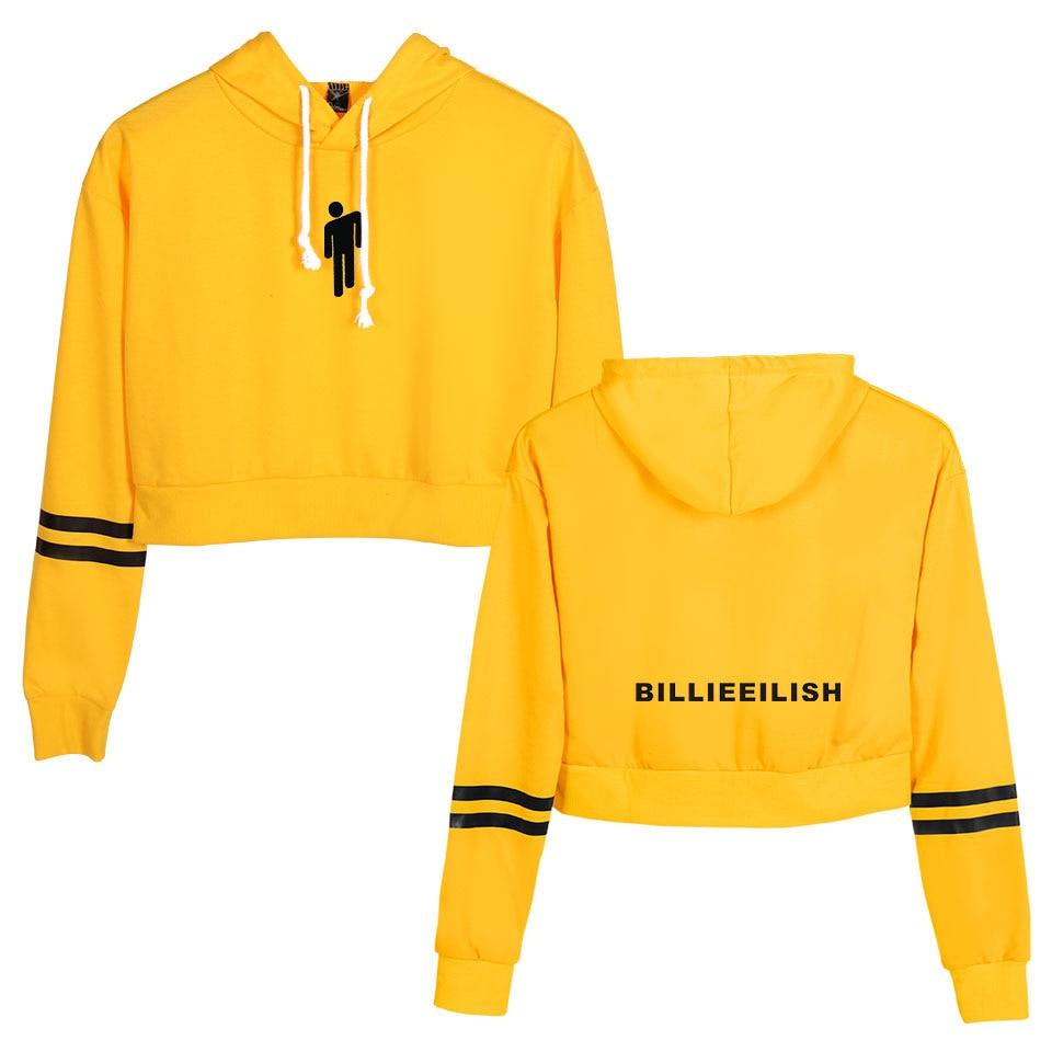 Koszula Billie Eilish bluza z kapturem Crop Top bluzy z długim rękawem Casual bluzy z kapturem ubrania z kapturem Harajuku swetry ubrania w Bluzy z kapturem i bluzy od Odzież damska na