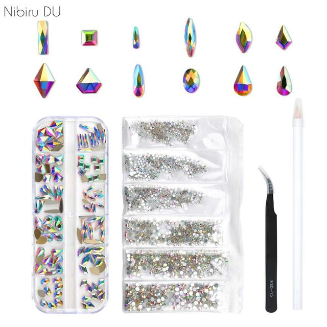 120 Pcs Multi Shapes Glass Crystal AB Rhinestones For Nail Art Craft, Mix 12 Style FlatBack Crystals 3D Decorations 1