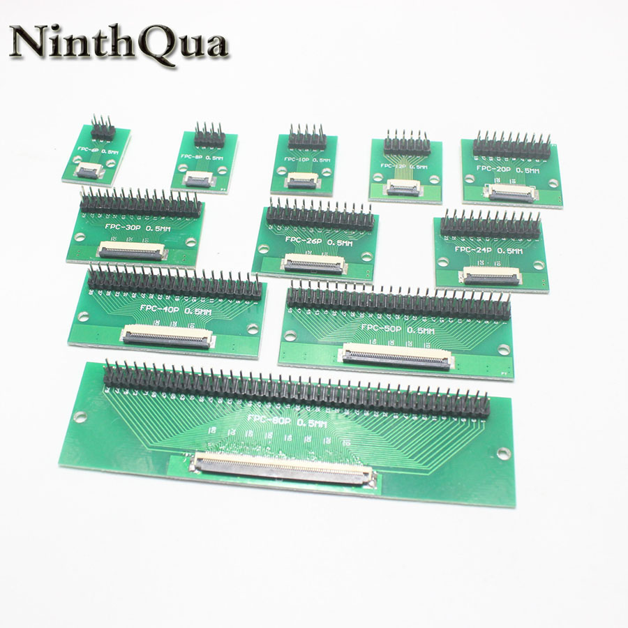 1PCS DIY FPC FFC flat cable connection Board 0.5 mm Pitch connector 6 8 10 <font><b>12</b></font> 20 24 26 30 40 50 60 <font><b>80</b></font> Pin 0.5 change 2.54 image
