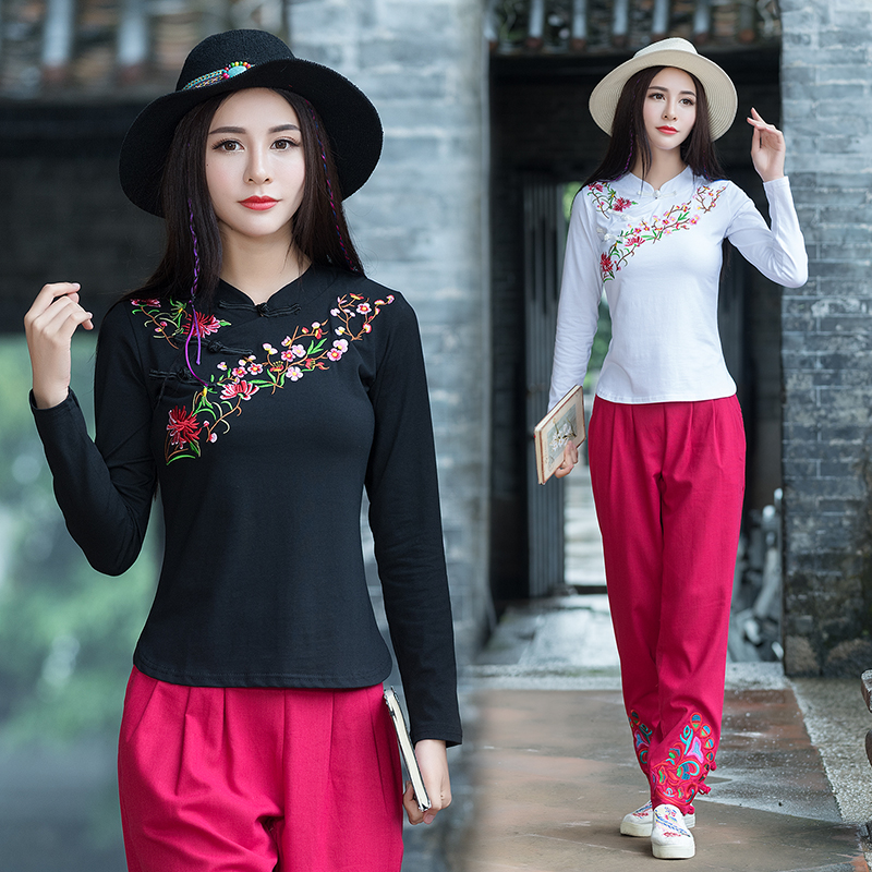 Chinese Style Women Autumn Spring New Embroidered Long Sleeves T-Shirt Female Girls Lady Short Design Plus Size Basic Shirt Tops