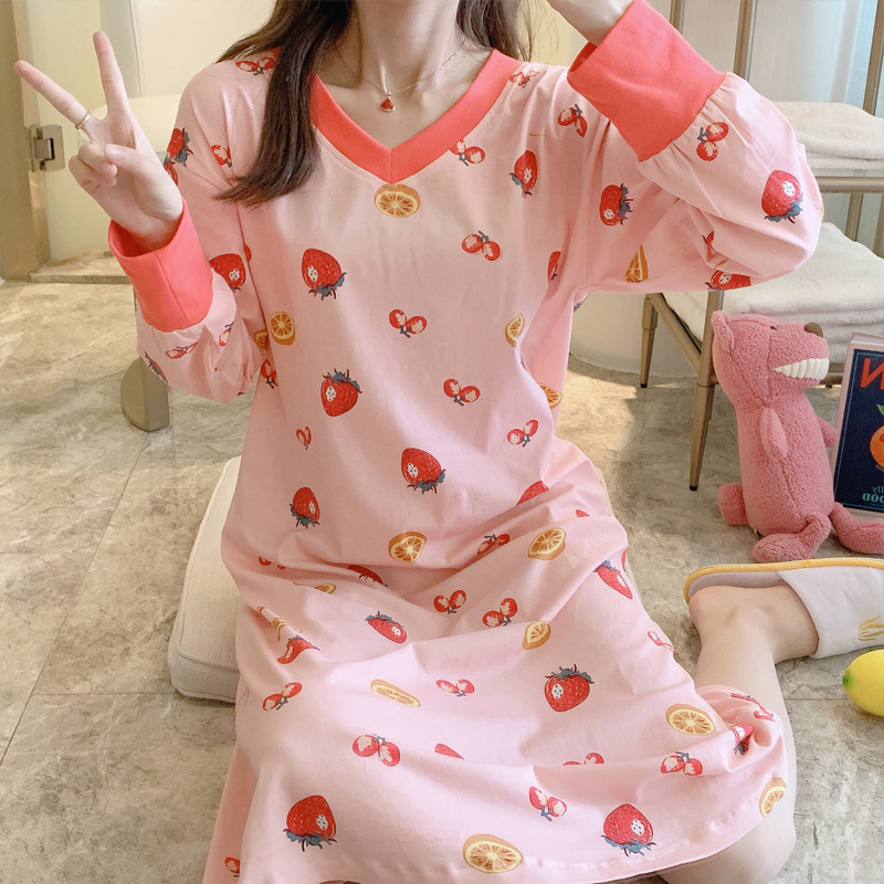 Nightgown Women's Spring Pure Cotton Long Sleeve-Go Out Casual Pajamas Loose-Fit Korean-style Tracksuit 9303 # M -Xxl