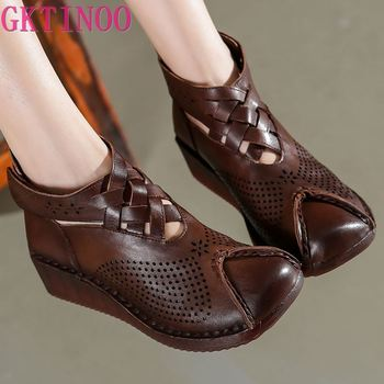 GKTINOO Summer Women Boots Casual Ankle Genuine leather Cut-outs Retro Handmade Women's shoes Hook&Loop Wedges - discount item  50% OFF Women's Shoes