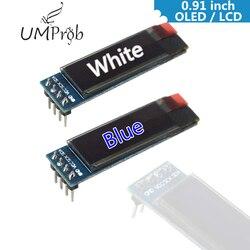 0.91 Polegada 128x32 iic i2c branco/azul oled display lcd módulo diy ssd1306 driver ic dc 3.3 v 5 v para arduino