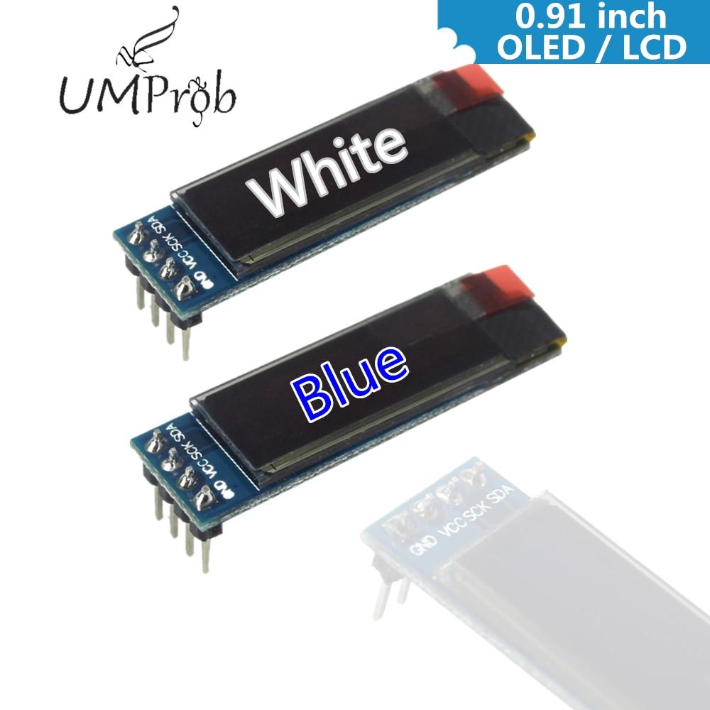 0,91 pulgadas 128x32 CII I2C Blanco/azul OLED pantalla LCD bricolaje módulo SSD1306 controlador DC 3,3 V 5V para arduino
