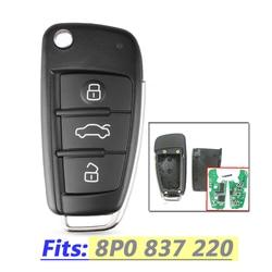 Chave remota para Audi 8P0837220/5FA009272-10 A3 S3 A4 S4 TT 434MHz com ID48 Carro Chip De 2005 2006 2007 2008 2009 2010 2011 2012 2013