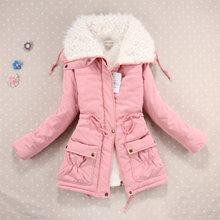 Casual grosso inverno parka feminino reunindo manga comprida botão de bolso algodão sólida senhoras jaquetas casacos chamarra mujer invierno