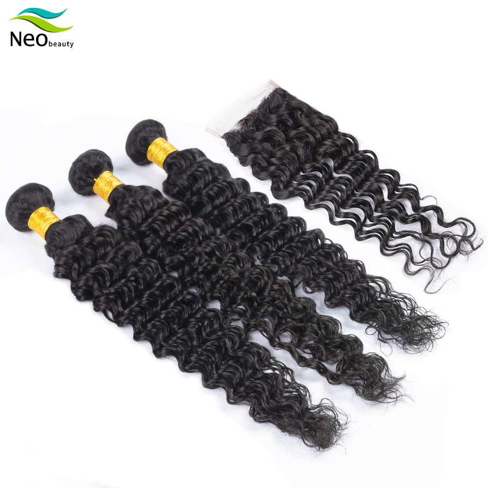 10 A Cambodian Bundles With Closure Deep Wave Human Hair Bundles Deep Wave Bundles With Closure With High Quality