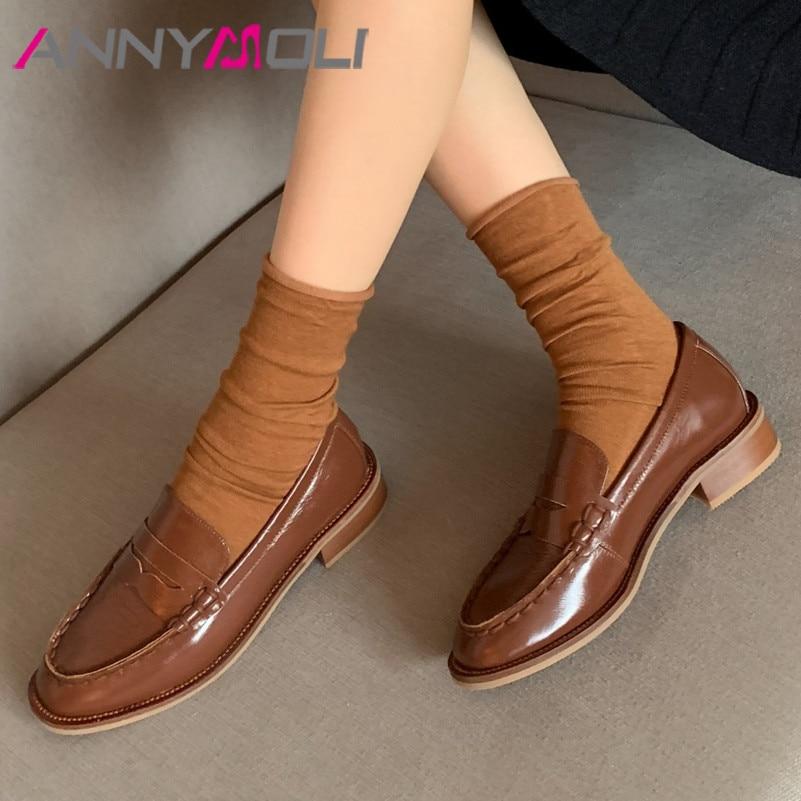 ANNYMOLI Genuine Leather Mid Heel Loafers Shoes Women Pumps Round Toe Slip On Shoes Ladies Chunky Heels Dress Footwear Brown 40