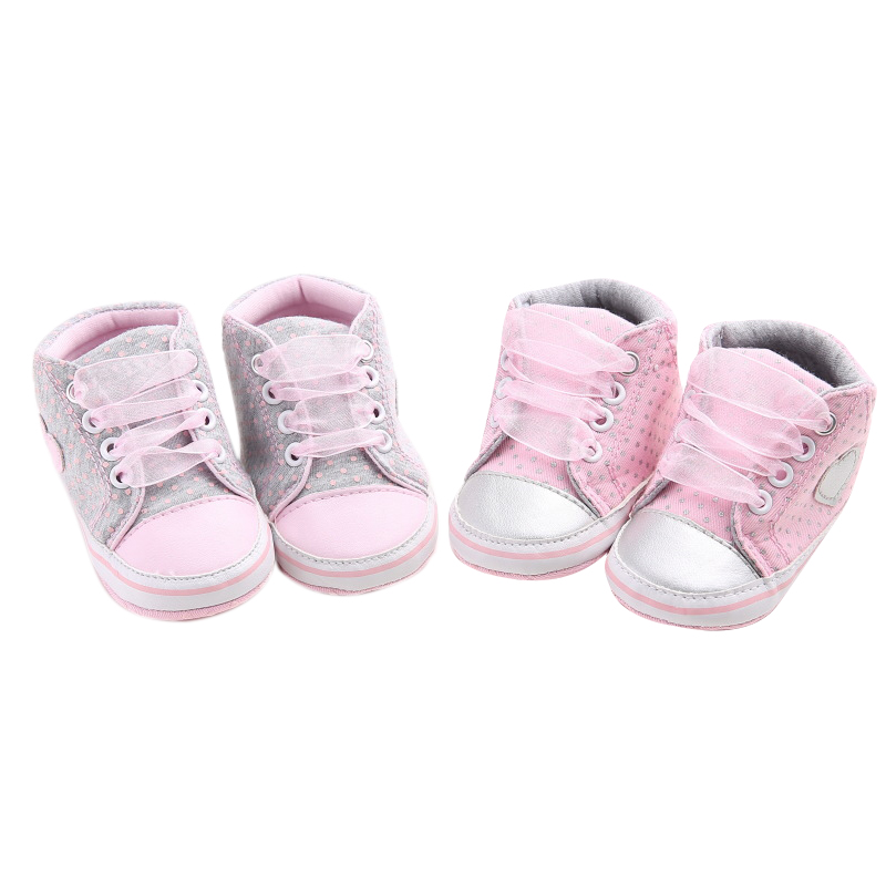 2019 Baby Girl Sneaker New Lovely Baby Girls Heart Shape Shoes For Infant Cotton Crib Soft Lace-Up Anti-slip Shoes