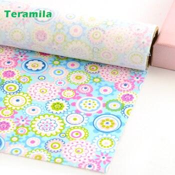 Teramila-tela de algodón con diseño de flores para costura, tela azul acolchada...