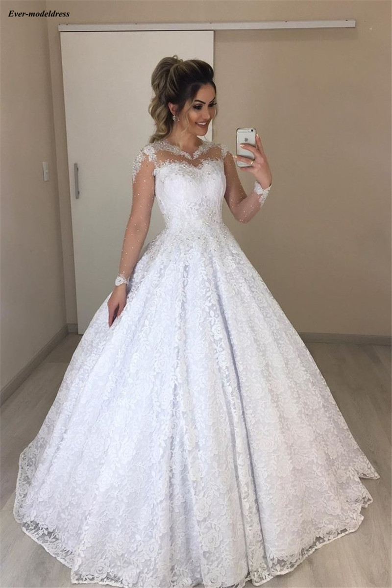 Ball Gown Lace Wedding Dresses Long Sleeves Beaded Plus Size Bridal Gowns Bride Dress Robe De Mariee 2020