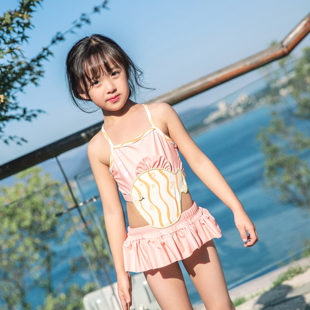 2019 One-piece Swimsuit For Children Baby Girls Hot Springs Skirt Swimwear Machine Embroidery Cute Princess Olive Flower 1021