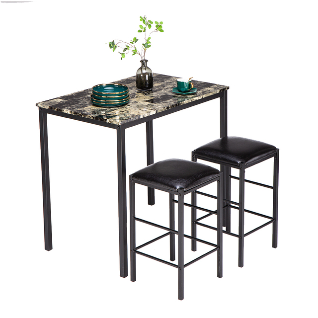 Dining Table Set[90 x 60 x 82] cm Marble Face High Dining Table and Chair Cushion Black 3 Piece Set 1 Table 2 Chairs 1