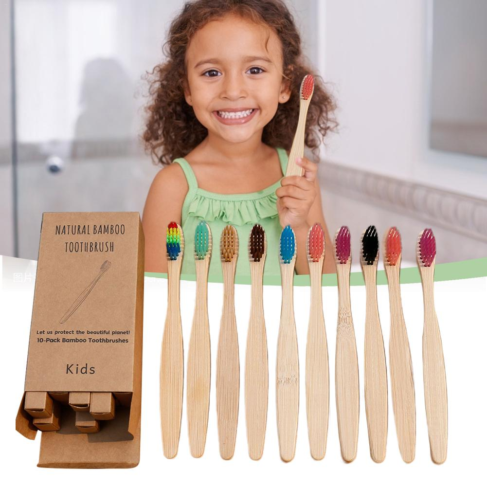 10pcs/set Child Soft Fibre Environmentally Wood Toothbrush Bamboo ToothBrush Wooden Handle Tooth Brush Whitening Oral Care Tool
