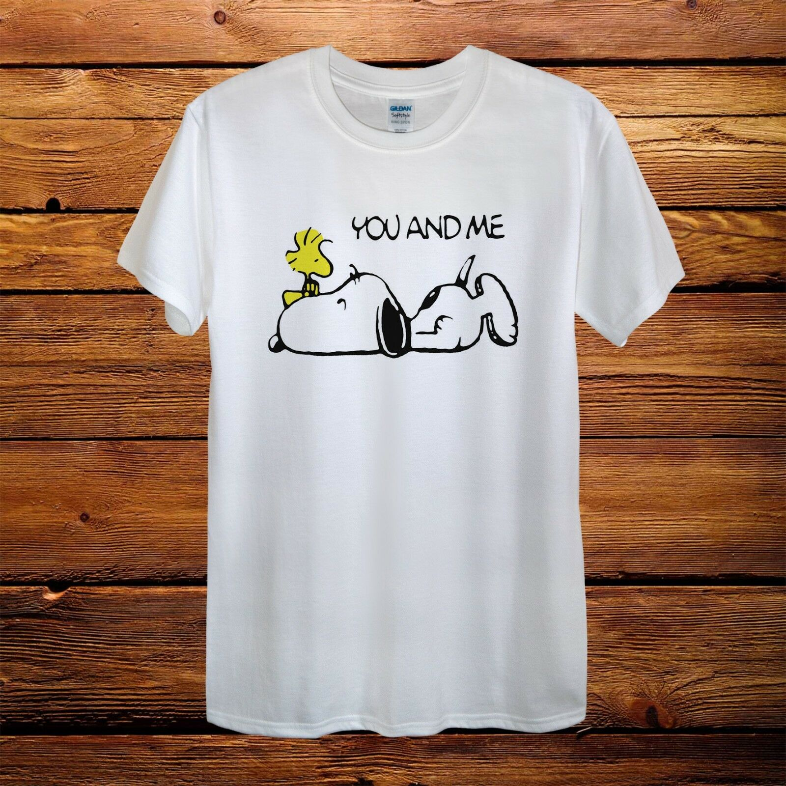 You And Me Snoopy Dog Woodstock Peanuts Design T-Shirt Men Unisex Women Fitted image