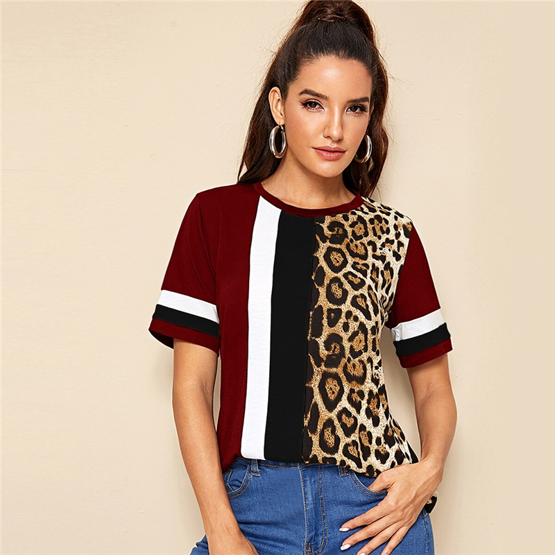 Block Cut-and-Sew Leopard Panel Top Short Sleeve O-Neck Casual T Shirt 86