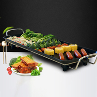 Family Kitchen Portable Smokeless Plate Barbecue Grill Adjustable Temperature Non Stick Electric Teppanyaki Table Party Camping