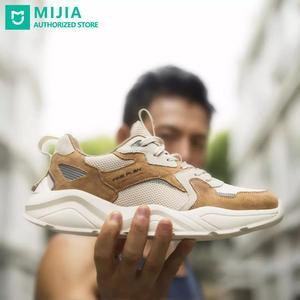 Nuevo Xiaomi mijia FINE PLAN Sport Retro hombres Casual zapatos mujeres zapatillas tira reflectante cerdo cuero Off blanco con cordones de zapatos