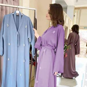 Abaya Kimono Cardigan Beaded Flower Dubai Kaftan Islam Muslim Dress Abayas Turkish Islamic Clothing For Women Oman Djelaba Femme