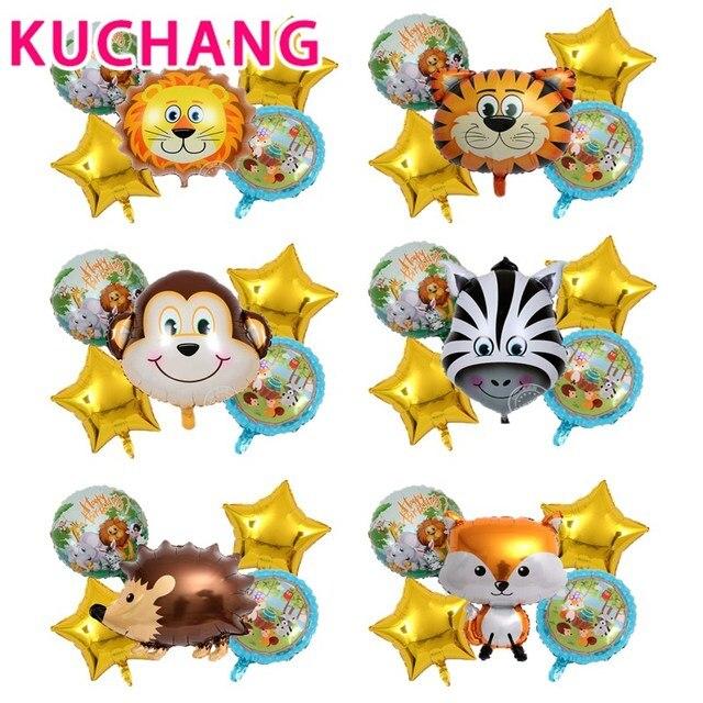 5 pièces animaux feuille ballons Lion tigre singe zèbre vache hélium enfants anniversaire Jungle Zoo thème bébé douche fête décor enfants jouet
