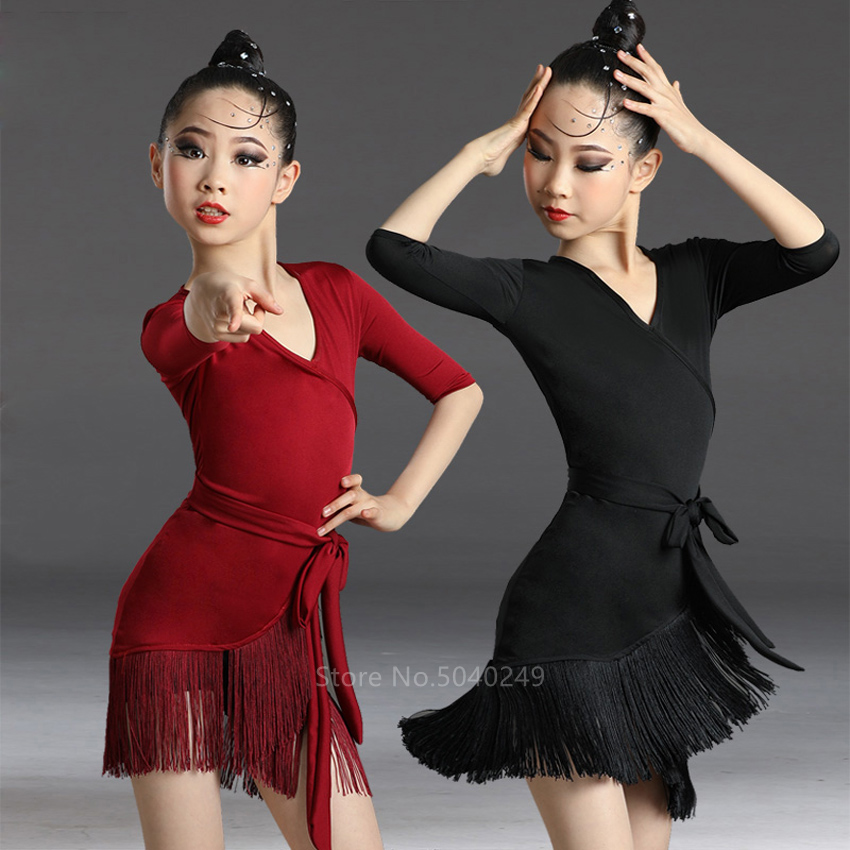 Children Latin Dance Dress 2020 News Tassel Dance Dress Fringed Tango Salsa Ballroom Kids Dresses For Girls Costume Competition