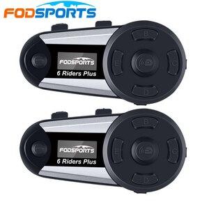 Image 1 - 2pcs Fodsports V6 בתוספת אופנוע קסדת אינטרקום אלחוטי Bluetooth אוזניות OLED תצוגת מסך intercomunicador moto FM רדיו