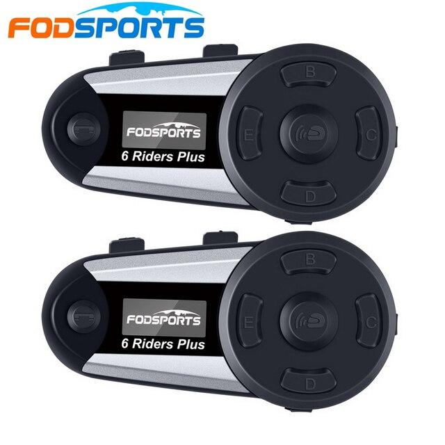 2pcs Fodsports V6 בתוספת אופנוע קסדת אינטרקום אלחוטי Bluetooth אוזניות OLED תצוגת מסך intercomunicador moto FM רדיו