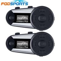 2pcs Fodsports V6 Plus Motorcycle Helmet Intercom Wireless Bluetooth Headset OLED Display Screen intercomunicador moto FM Radio