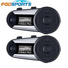 Fodsports intercomunicador V6 Plus para casco de motocicleta, Auriculares inalámbricos con Bluetooth, pantalla OLED, Radio FM, 2 uds.