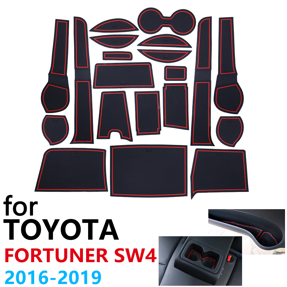 Anti-Slip Rubber Cup Cushion Door Groove Mat For Toyota Fortuner SW4 2016~2019 2017 2018 Accessories Car Stickers Mat For Phone