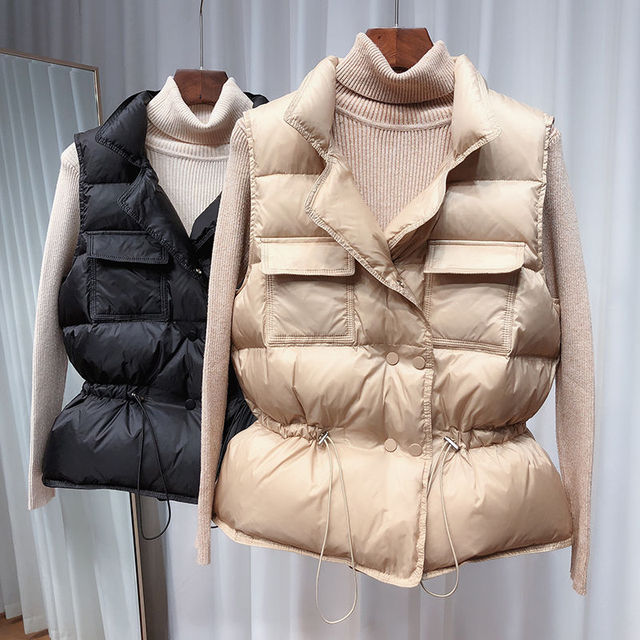 2021 New Ultra Light Down Vest Women Short Vest Windproof Lightweight Warm Waistcoat Female White Duck Down Down Coat Sleeveless 1
