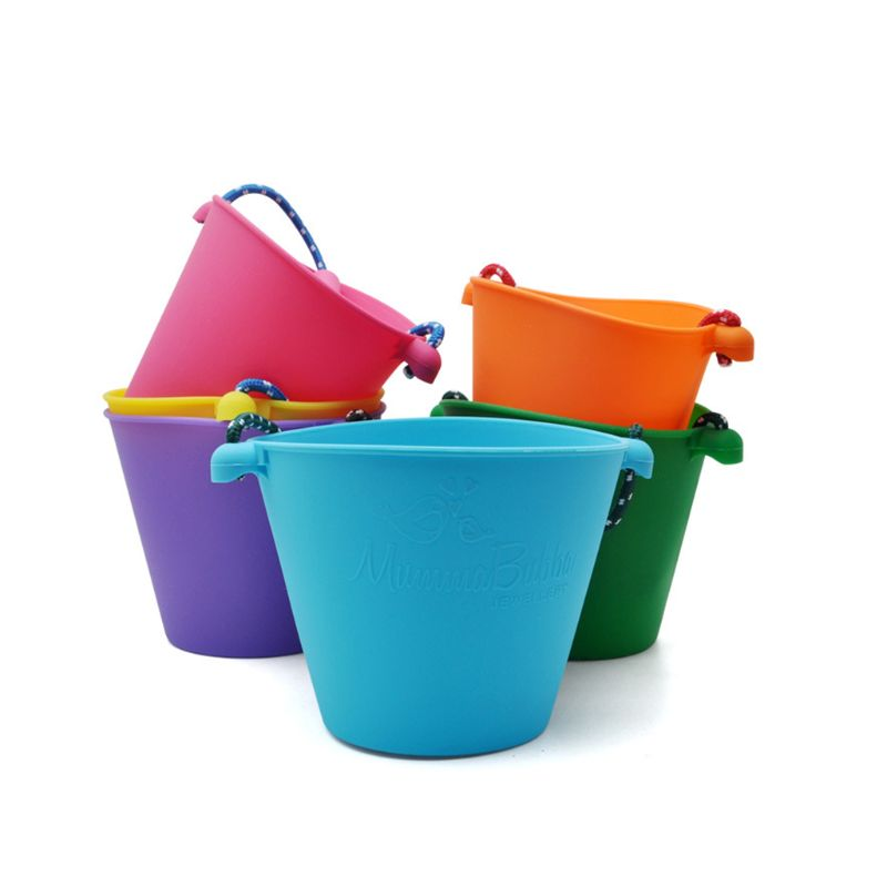 Children Baby Shower Bucket Bath Beach Toy Folding Handheld Silicone Barrel Pouring Water Sand Kids Gift 95AE