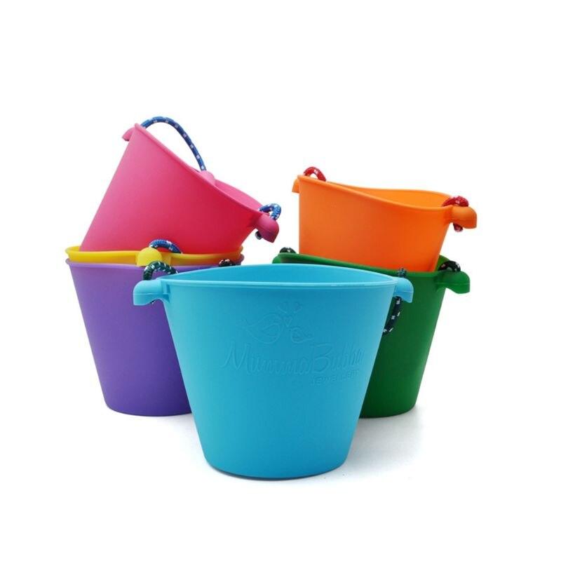 Children Baby Shower Bucket Bath Beach Toy Folding Handheld Silicone Barrel Pouring Water Sand Kids Gift 95AE