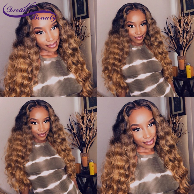 13x6 Ombre Highlight Lace Front Human Hair Wigs With Baby Hair Pre Plucked Wavy Highlight Brazilian Remy Hair Wigs Dream Beauty