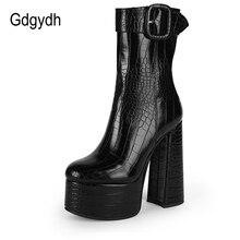 Womens Chunky High Heels Ankle Boots Platform Roman Belt Buckles Punk Shoes V886