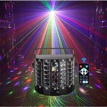 Controle remoto dj rgb led disco laser 2 em 1 mini luz borboleta dmx512 lazer máquina de nevoeiro iluminação palco casamento noite ktv clube