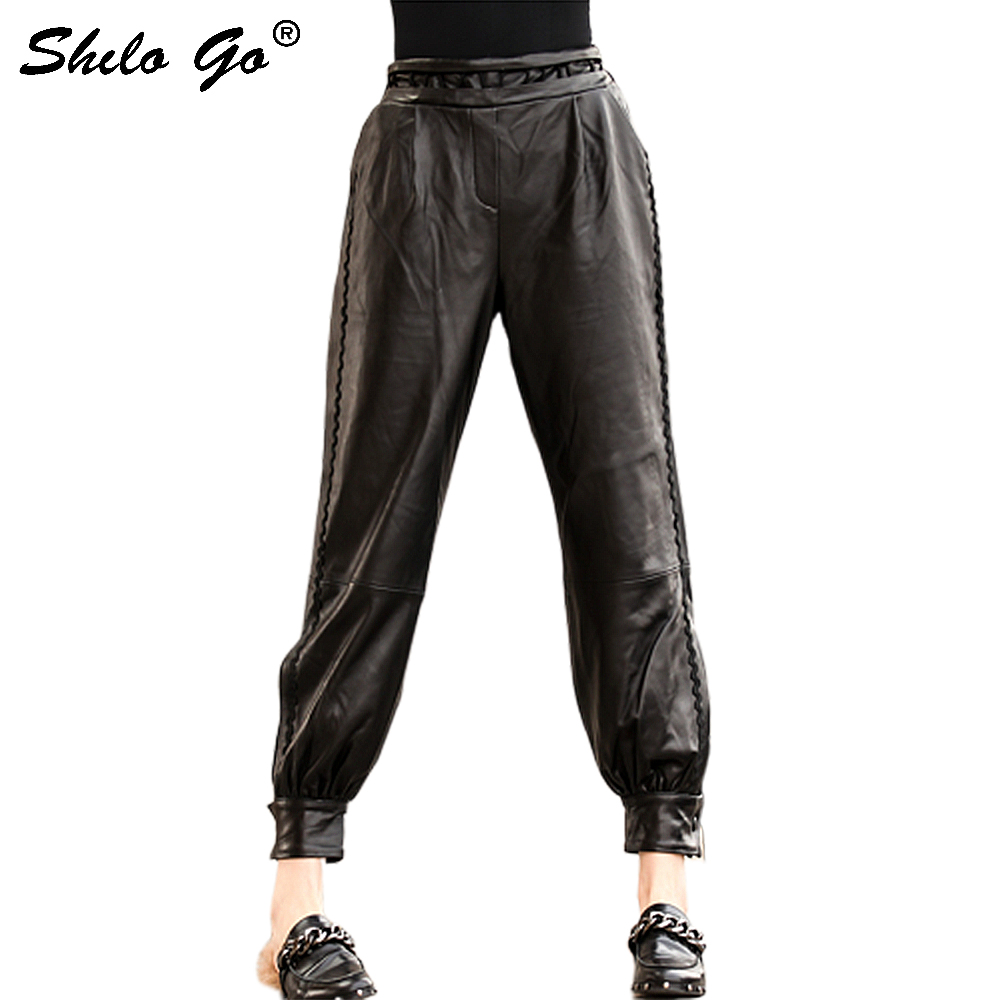 Genuine Leather Pants Black High Waist Pants Women Autumn 2020 Casual Pocket Streetwear Trousers Leather Tapered/Carrot Pants