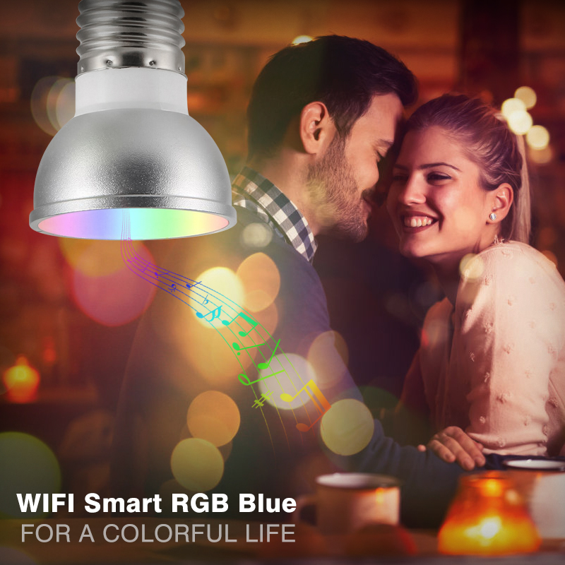 WiFi Smart pendant lamp Bulb E27/GU5.3 RGBW 6W LED Dimmable Light Cup Compatible with Alexa&Google Home Remote Light Bulb image