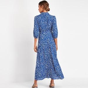 Image 2 - 女性のエレガントなロングプリントドレス 3 分袖ボヘミアンマキシドレスターンダウン襟 vestidos mujer