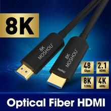 Moshou cabo hdmi 2.1 de fibra óptica ultra hd (uhd) cabo hdmi 8k 120ghz 48gbs, com áudio e ethernet, hdr 4:4:4, sem perda, cabl