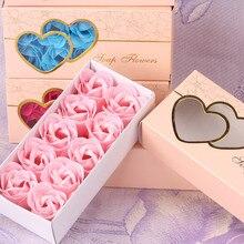 Розовое Мыло, 10 шт., чехол с цветами, ароматизированный цветок розы, лепестки для ванны, мыло для тела, подарок на свадьбу, лучшее украшение, чехол, праздничная коробка#40