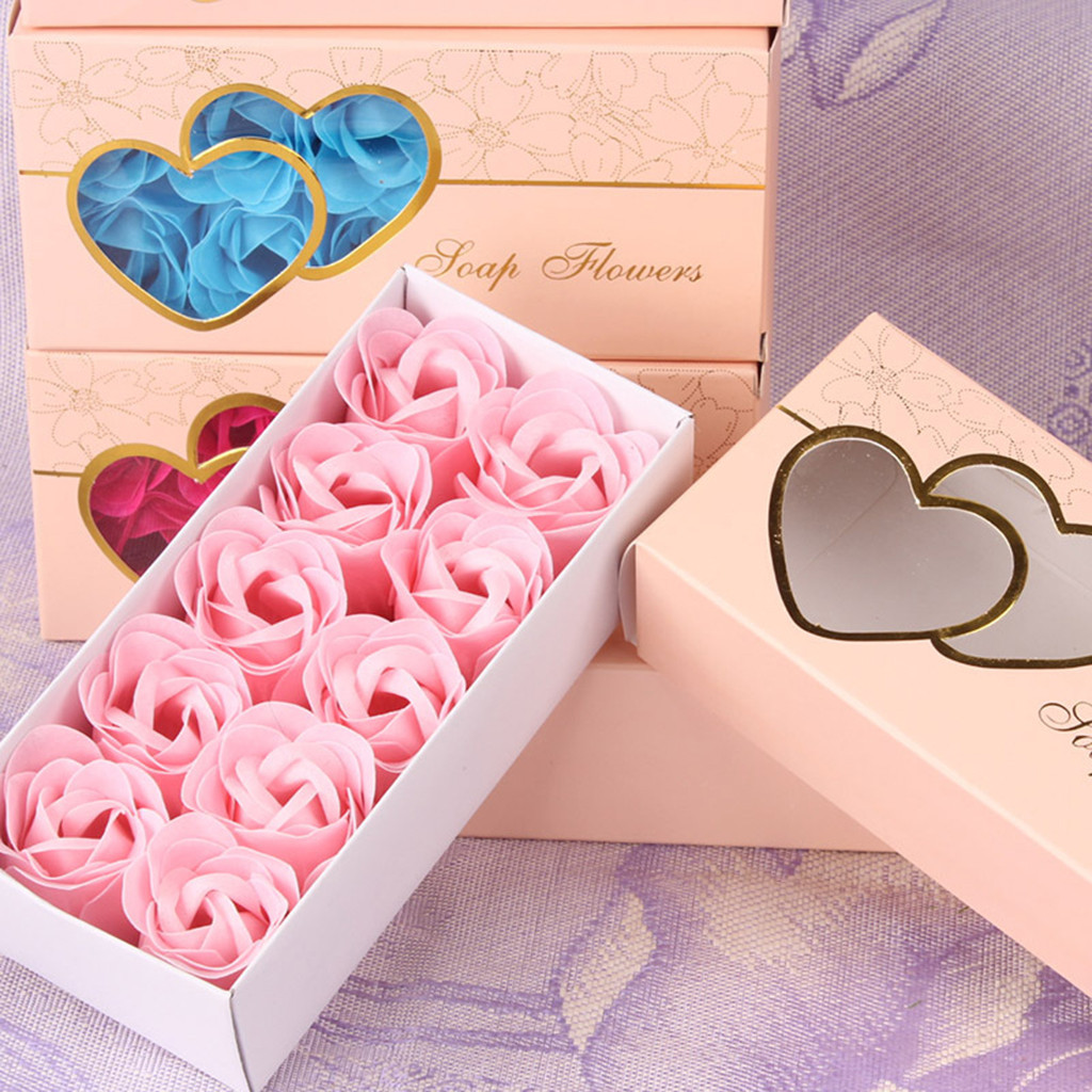 Rose Soap 10Pcs Flower Case Scented Rose Flower Petal Bath Body Soap Wedding Party Gift Best Decoration Case Festival Box #40