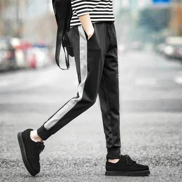 Spring And Summer Men's Casual Pants Teenager Sweatpants Men Skinny Trousers Stock Stall Athletic Pants