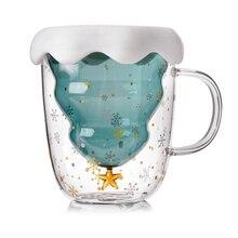 Рождественская двухслойная стеклянная чашка 300 мл, двухслойная Рождественская елка, звездная чашка желаний, стеклянные кружки, рождественс...