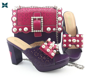 Fuchsia Shoes and Bag African Sets Italian design lady shoes with Matching Bags Nigerian Women Shoes and Bag To Match for Party